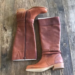 Lands End Brown Distressed Leather Riding Boots 6B